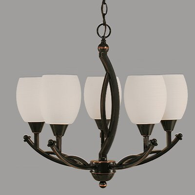 Blankenship 5-Light  Adjustable Height Shaded Chandelier Shade Color: White