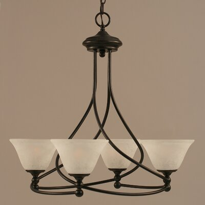 Capri 4-Light Shaded Chandelier Shade Color: White