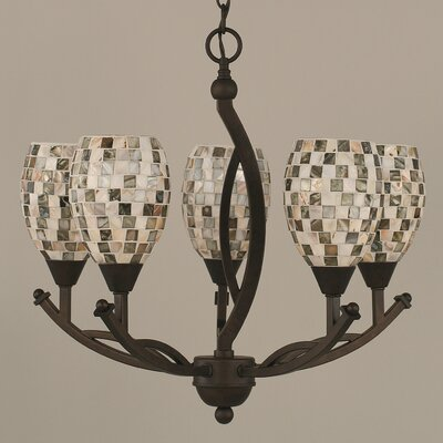 Bow 5-Light Shaded Chandelier Shade Color: Sea Haze