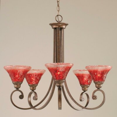 Babin 5-Light Shaded Chandelier Shade Color: Raspberry