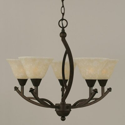 Eisenhauer 5-Light Glass Shaded Chandelier Shade Color: White, Finish: Bronze