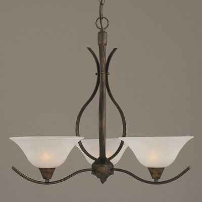 Swoop 3-Light Shaded Chandelier Shade Color: White