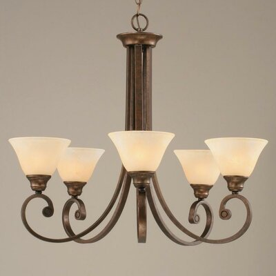 Babin 5-Light Shaded Chandelier Shade Color: Amber