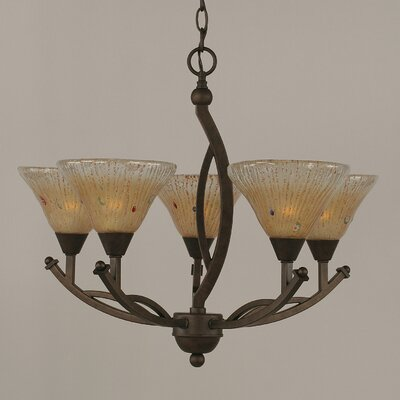Bow 5-Light Shaded Chandelier Shade Color: Amber, Size: 20.25 H x 22 W