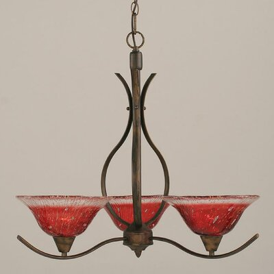 Swoop 3-Light Shaded Chandelier Shade Color: Raspberry