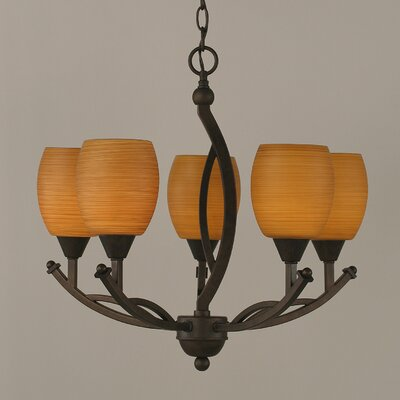 Blankenship 5-Light Bronze Shaded Chandelier Shade Color: Cayenne