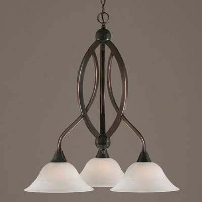 Blankenship 3-Light Glass/Crystal Shaded Chandelier Finish: Black Copper