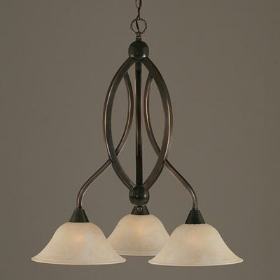 Blankenship 3-Light Glass Shaded Chandelier Finish: Black Copper, Shade Color: Amber