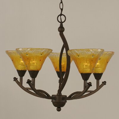 Bow 5-Light Shaded Chandelier Shade Color: Gold Champagne