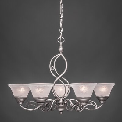 Jazz 5-Light Shaded Chandelier Finish: Brushed Nickel, Shade: Amber Marble Glass Shade