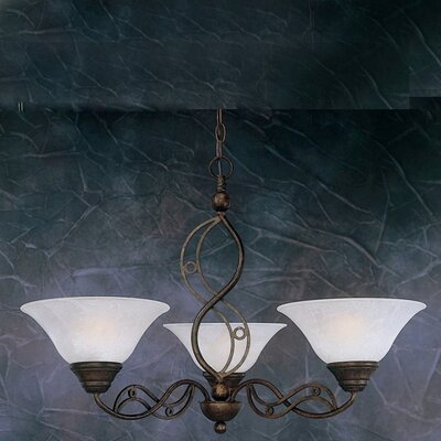 Jazz 3-Light Shaded Chandelier Finish: Bronze, Shade: Amber Marble Glass Shade