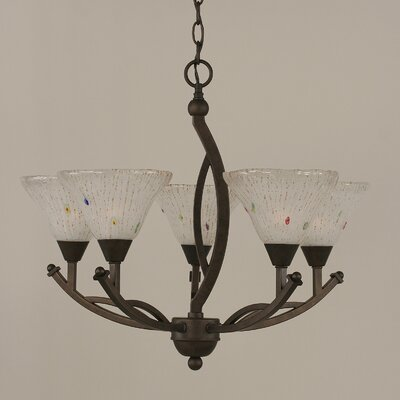 Bow 5-Light Shaded Chandelier Size: 20.25 H x 20 W, Shade Color: Frosted