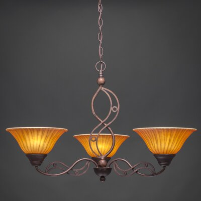 Jazz 3-Light Shaded Chandelier Finish: Bronze