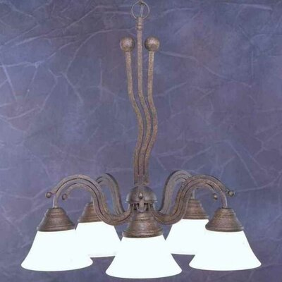 Wave 5-Light Shaded Chandelier Finish: Bronze, Shade: White Marble Glass Shade