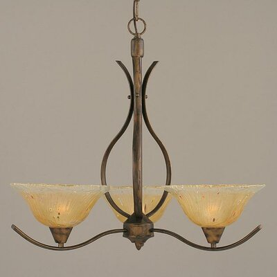 Swoop 3-Light Shaded Chandelier Shade Color: Amber