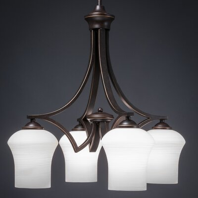 Zilo 4-Light Shaded Chandelier Finish: Dark Granite, Shade Color: White