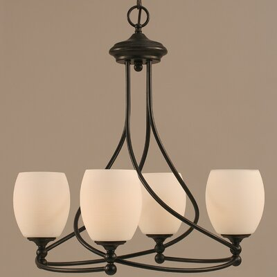 Capri 4-Light Shaded Chandelier Shade Color: White Linen