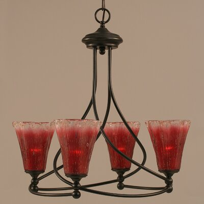 Capri 4-Light Shaded Chandelier Shade Color: Raspberry