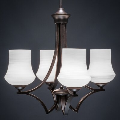 Zilo 4-Light Shaded Chandelier Shade Color: White, Finish: Graphite