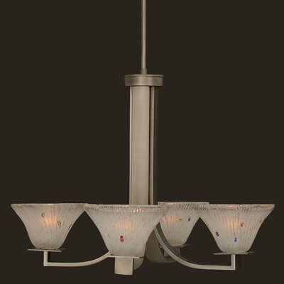 Elburn 4-Light Graphite Glass Shaded Chandelier