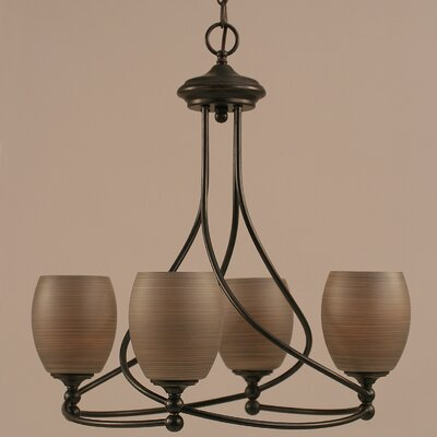 Capri 4-Light Shaded Chandelier Shade Color: Gray linen