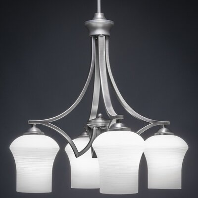 Zilo 4-Light Shaded Chandelier Shade Color: White
