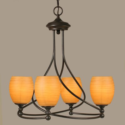 Capri 4-Light Shaded Chandelier Shade Color: Cayenne Linen