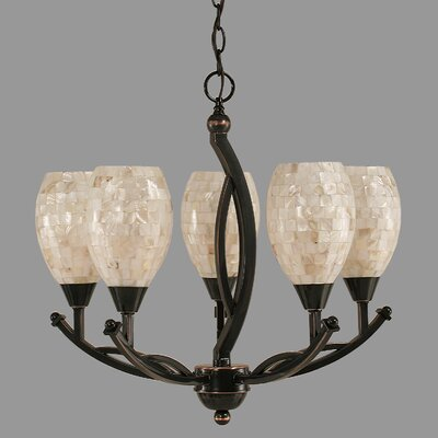 Bow 5-Light Shaded Chandelier Shade Color: Ivory Glaze