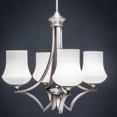 Zilo 4-Light Shaded Chandelier Finish: Matte Black, Shade Color: White