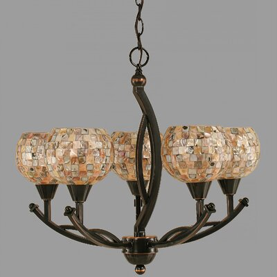 Bow 5-Light Shaded Chandelier Shade Color: Sea Mist