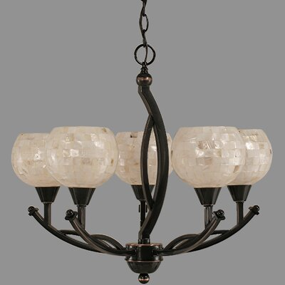 Bow 5-Light Shaded Chandelier Shade Color: Mystic