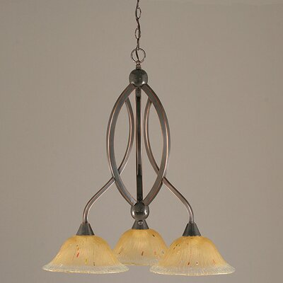 Bow 3-Light Shaded Chandelier Finish: Black Copper