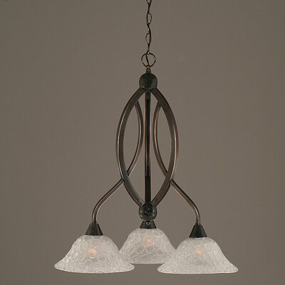 Eisenhauer 3-Light Glass/Crystal Shaded Chandelier Finish: Black Copper