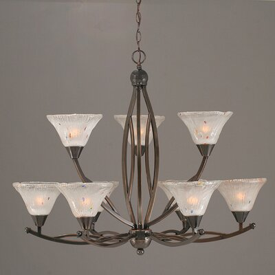 Bow 9-Light Shaded Chandelier Finish: Black Copper, Shade: Raspberry Crystal Glass Shade