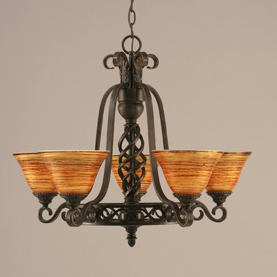 Elegant� 5-Light Shaded Chandelier Shade: Tiger Glass