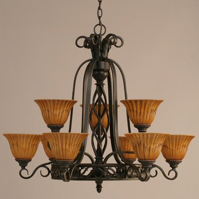 Elegant� 9-Light Shaded Chandelier Shade: Tiger Glass