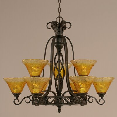 Elegant� 9-Light Shaded Chandelier Shade: Gold Champagne Crystal Glass