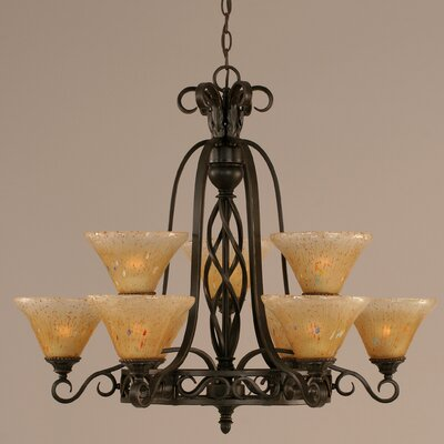Elegant� 9-Light Shaded Chandelier Shade: Amber Crystal Glass