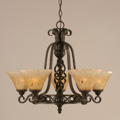 Elegant� 5-Light Shaded Chandelier Shade: Amber Crystal Glass