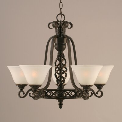 Elegant� 5-Light Shaded Chandelier Shade: White Marble Glass