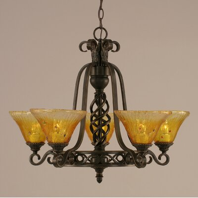 Elegant� 5-Light Shaded Chandelier Shade: Gold Champagne Crystal Glass