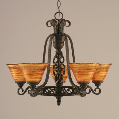 Elegant� 5-Light Shaded Chandelier Shade: Firr� Saturn Glass