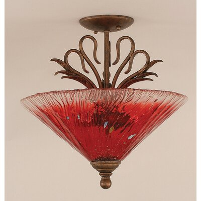 Swan 3-Light Semi Flush Mount Shade Color: Raspberry