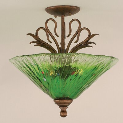 Swan 3-Light Semi Flush Mount Shade Color: Kiwi Green