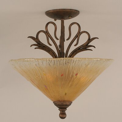 Swan 2-Light Semi Flush Mount Shade Color: Amber Crystal
