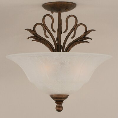 Swan 3-Light Semi Flush Mount Shade Color: White