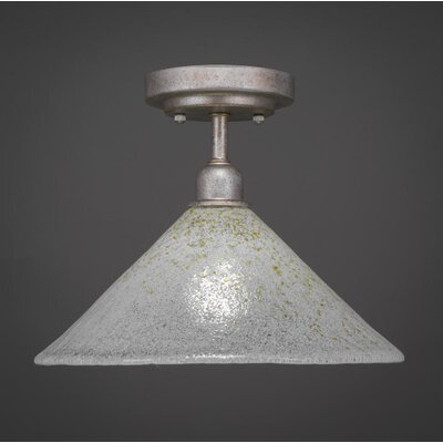 Kash 1-Light White/Gold Semi-Flush Mount Size: 9.25 H x 12 W x 12 D