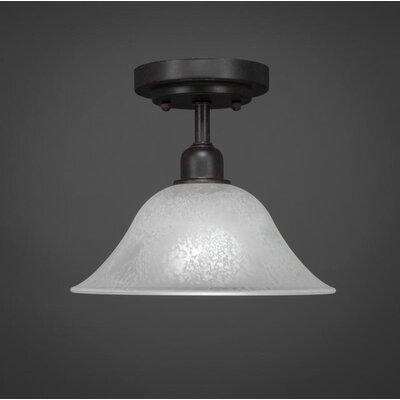 Kash 1-Light White/Dark Granite Semi-Flush Mount Size: 8.5 H x 10 W x 10 D