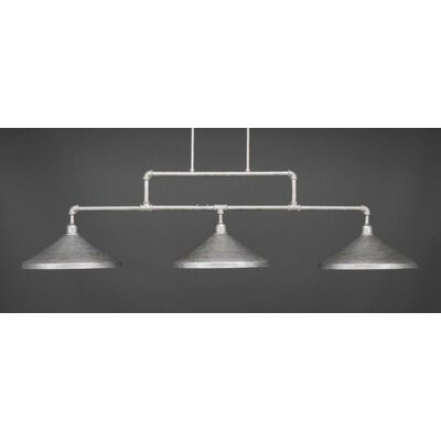 Kash 3-Light Cone Metal Kitchen Island Pendant Base Finish: Aged Silver
