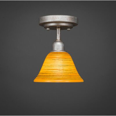 Kash 1-Light Amber Semi-Flush Mount Size: 8.5 H x 7 W x 7 D